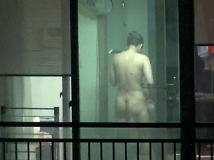 korean girl window voyeur dry body after shower