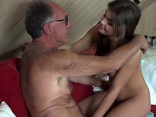 Sweet Teen Fucked By Old man She Swallows cum blowjob